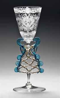 A DUTCH-ENGRAVED FAÇON-DE-VENISE DATED ARMORIAL MARRIAGE GOBLET THE GLASS 17TH CENTURY, THE ENGRAVING DATED 1709