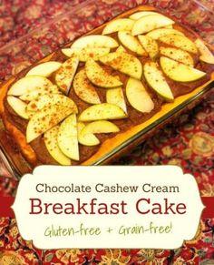 Chocolate Cashew Cream Breakfast Cake - Can be #dairyfree if you use non-dairy yogurt - #recipe #healthy #glutenfree