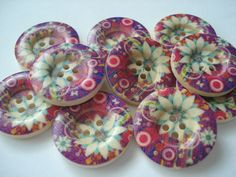 25mm Wood Buttons Multi Purple and Cream Flower Print Pack of 10 Purple Buttons W2528E by berrynicecrafts on Etsy