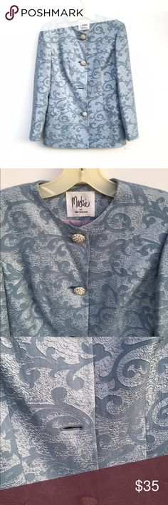 """NWOT Elegant Light Blue Blazer Gorgeous pale blue blazer with """"diamond"""" like buttons. One button is missing. Pockets on each side. New without tags, and unworn. Bob Mackie Jackets & Coats Blazers"""