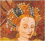 Decorated rollo. Mid-fifteenth century. Wedding at Canaa, Blasco de Grañen and Martin Soria, Church of El Salvador, Ejea de los Caballeros, Zaragoza (detail)