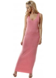 A Postcard From Brighton Coral Nancy Racer Back Stretch Jersey Maxi Dress