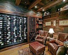 Wild Turkey Lodge Wine Cellar - eclectic - wine cellar - atlanta - Modern Rustic Homes Home Library Design, House Design, Cave A Vin Design, Wine Cellar Basement, Whiskey Room, Home Wine Cellars, Wine Cellar Design, Log Home Designs, Wine Tasting Room