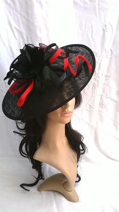 Black with red accent Feather Fascinator..Stunning Sinamay Fascinator on a  Headband c8ccbb902b75