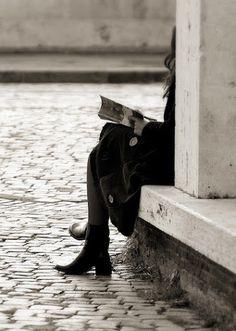Reading on the corner