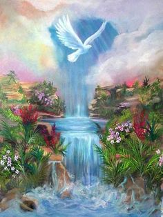 'Paradise' Holy Spirit Dove and living waters, Prophetic Art painting. Jesus Pictures, Art Pictures, Fantasy Landscape, Fantasy Art, Jesus Christ Images, Christian Pictures, Prophetic Art, Christian Art, Religious Art