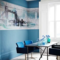 BoConcept Nomi chairs! like the bridge wall mural too