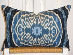 Ikat Denim Throw Pillow in Dress Up Your Design: Accessorize a Bare Bedroom from HGTV