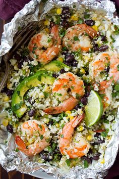 """These Cilantro Lime Shrimp and Cauliflower """"Rice"""" Packs are amazingly delicious and they're brimming nutritious ingredients. Perfect summer meal!"""