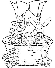Easter Basket Coloring Pages - Easter Basket with Bunnies and Chicks | HonkingDonkey