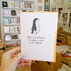 Delivery from @louillustrator including the occasion penguin!  Check out our stories for more goodies in by Louise Wright! . . . #penguin #justacard #flashesofdelight #cardsthatmakeyousmile #thehappynow #thatsdarling #giftshop #shopsmall #itsinnottingham #craftsposure #buylocal #shoplocal #illustrator #penguinlove #penguinstagram