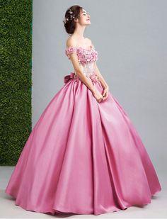 1950s Vintage Inspired Just Darling Floral Applique Off Shoulder Quinceanera Prom Ball Dress