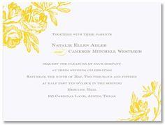 William Arthur Blog | Yellow Roses Wedding Invite