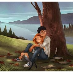 lulusketches: sleepy Potters (part 2) Harry and Ginny full size on my tumblr!