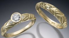 18k gold wedding rings with diamonds.  Conni Mainne