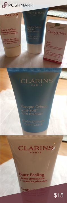 """Clarins Trial Size Trio! Three trial size products from Clarins! .5 oz HydraQuench Cream-Mask. """"An oasis of comfort for dry, devitalized skin."""" .5 oz Gentle Peeling Smooth away cream With primrose extract. """"Smooth & Refine."""" .07 Fl oz Lotus Face Treatment Oil. 100% pure plant extracts, Rosemary and Sacred Lotus. Never used! Bundle and save, no trades! Sephora Other"""