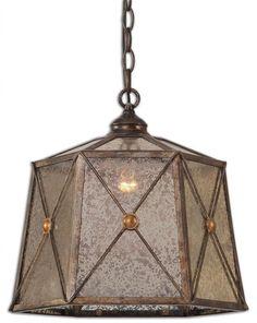 "Mercury Glass Chandelier Art Deco 14""D Retro Transitional Pendant Light New #HorchowNeimanMarcus #Modern"