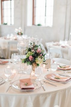 The prettiest colour palette f lush pink and white for Ian + Elizabeth's Romantic Wedding on BLOVED Blog! Captured by Holly Von Lanken Photography with beautiful floral centerpiece by Tulip Design in Atlanta.