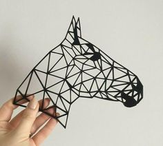 Geometric Horses Head Side Wall Art Hanging Decoration Origami Style Pick Your Colour String Wall Art, Nail String Art, Hanging Wall Art, Diy Wall Art, Diy Art, Wall Decor, Logo Caballo, Paint Chip Art, Geometric Drawing