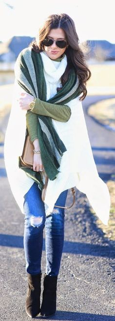 White Knitted Cape