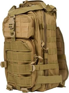 This military style backpack is durable and strong well manufactured. Large volume capacity. Great size for a day pack with lots of compartments for storage. The pack measures 18'L x 10'W x 12'H. By...