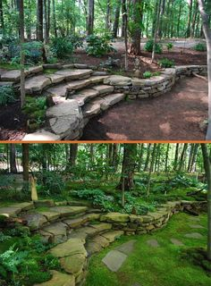 Garden Paths, Garden Landscaping, Wooded Backyard Landscape, Landscaping Ideas, Natural Landscaping, Backyard Stream, Desert Backyard, Stone Landscaping, Sloped Backyard