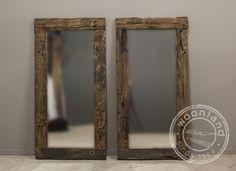 Grote Spiegel Hout : Originele houten railway spiegel woonland reflections in a