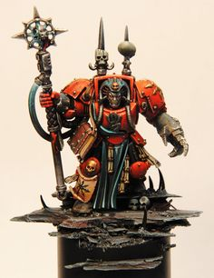 Warhammer 40k | Chaos Space Marines | Red Corsairs Sorcerer in terminator armour…