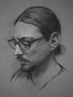 """Self Portrait"" - David Jon Kassan, charcoal on toned paper, 2014–15 {figurative artist male head eyeglasses face profile portrait drawing} davidkassan.com"