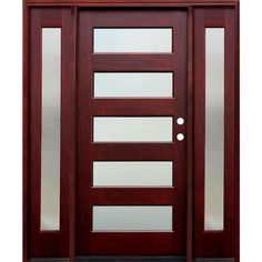 Pacific Entries 70 in. x 80 in. Contemporary 5 Lite Mistlite Stained Mahogany Wood Prehung Front Door with 14 in. Sidelites, Medium Red Mahogany