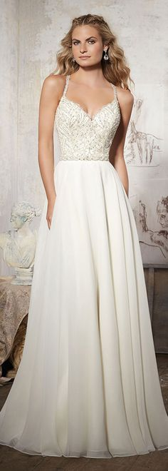 Stunning Tulle & Chiffon Spaghetti Straps A-Line Wedding Dresses With Embroidery & Beadings