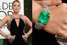 Blake Lively at 2017 Golden Globe Awards wearing emerald and diamond cuffs with a total of 300-carats in gems by Lorraine Schwartz