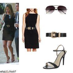 jennifer aniston style tips | Dress $30 // Belt $42 // Shoes $65 // Sunglasses $22