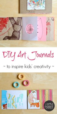 Make DIY art journals for kids with recycled and upcycled materials and include creative drawing prompts such as holes, magazine images, and altered pages.