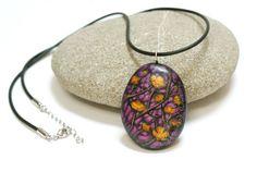 Original painting on stone pendant flowers by MagicsOfCreation