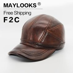 Maylooks Genuine Leather Hats for Men Baseball Cap Men's Winter Hats with Ears 2 Color Highest Quality Free Shipping CS52 #Affiliate