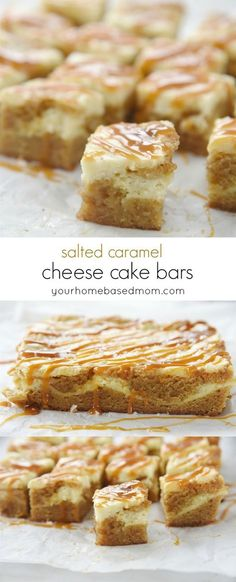 Salted Caramel Cheesecake Blondies Recipe - These are amazing. The perfect combination of cheesecake and blondie with a drizzle of caramel and a sprinkle of salt!