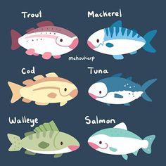 New Painting Sea Creatures Ideas Kawaii Doodles, Cute Doodles, Kawaii Art, Cute Animal Drawings, Kawaii Drawings, Cute Drawings, Cute Creatures, Sea Creatures, Pokemon