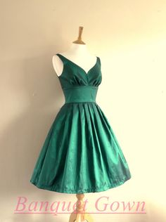 2016 Hunter Green Homecoming Dresses Short Prom Gowns Taffeta Homecoming Gown For Teens - Thumbnail 1