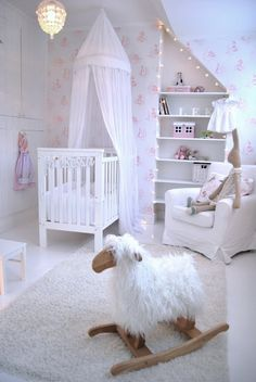 Add some mobiles as decorations in the nursery.