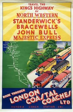 These four little gems came up for auction recently. How lovely to explore Britain via long lost carriers and their fleets of gloriously vintage coaches! London Poster, Bus Coach, Coastal, Posters, Poster, Postres, Movie Posters