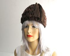 Vintage chocolate brown woven cellophane straw hat with 2 long ribbon tassels…