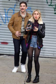 Zosia Mamet and Evan Jonigkeit film a cameo in Netflix's Unbreakable Kimmy Schmidt in New York City on Oct. 12, 2015.   - Cosmopolitan.com