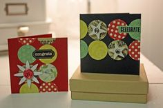 Am I the only one who purchases a gift and forgets about a card until the last minute? I've convinced myself that these mini-cards are the perfect solution. To create these simple mini-cards, start with a cardstock base. Button Button, Scrapbook Embellishments, All The Way, Mini Albums, Circles, Card Stock, Christmas Cards, The Secret, Playing Cards