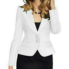 Blazer Women's Solid White Blazer , Work Notch Lapel Long Sleeve Mike Is Jackets & Coats Blazers