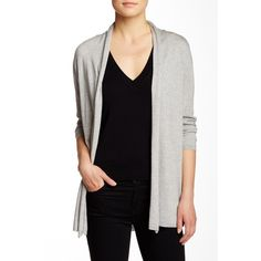 "In Cashmere• Grey silk cardigan. Grey silk blend Cardigan. Draped front detail• 3/4 length sleeves.(26"" length) In Cashmere Jackets & Coats"