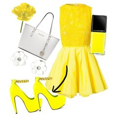 Designer Clothes, Shoes & Bags for Women Joy And Happiness, Neon Yellow, Yellow Dress, Summer Dresses, My Style, Polyvore, Cocktail, Toe, Stuff To Buy