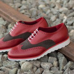 70f0bd6ef08c Full Brogues in Red Pebble Grain and Grey Luxe Suede -  499.00  fashion  men