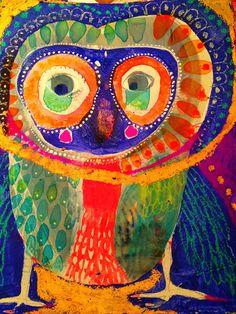 What a beautiful watercolor and watercolor resist owl! Owl Art, Bird Art, Art Moderne, Cute Owl, Outsider Art, Art Club, Art Plastique, Elementary Art, Animal Paintings