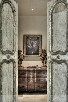 Segreto Secrets--love these antique doors installed in a home we plastered--the two look so pretty together! Antique Doors, Old Doors, Barn Doors, Sliding Doors, Grey Doors, French Interior, French Decor, Portal, Door Design